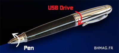 Un produit deux en un : stylo bille et clé usb de 4Go