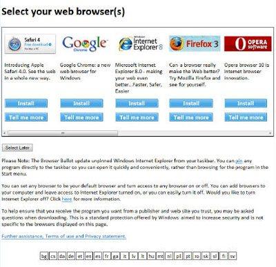 Windows 7 : à quoi va ressembler l'écran de sélection des navigateurs ?