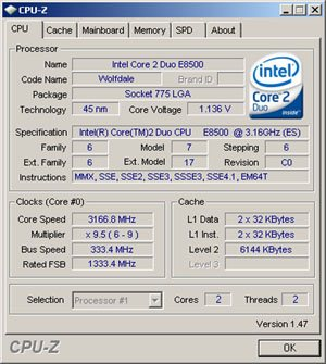 Le programme CPU-Z disponible en version 1.50