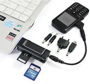 Produit 2 en 1 : lecteur de cartes mémoire et chargeur pour téléphone portable