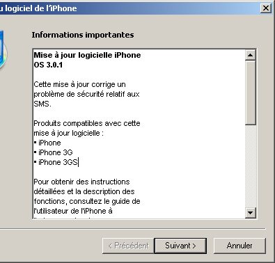 Apple sort un firmware 3.01 pour iPhone