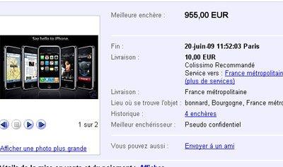 L'iPhone 3GS atteint des sommes folles sur ebay : jusqu'à 955 euros !