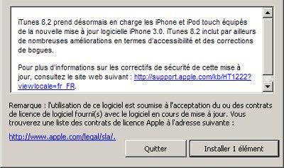 iTunes 8.2 : support du firmware 3.0 de l'iPhone