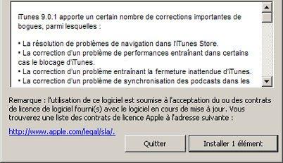 iTunes 9.0.1 est disponible : plusieurs problèmes ont été corrigés