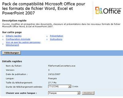 Comment lire les fichiers Office 2007 avec un ancien Office ?