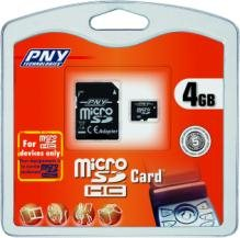 Une carte micro SD HC de 4Go chez PNY