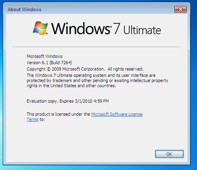 Leak de la build 7264 de Windows 7 sur le P2P