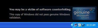 Quand les versions pirates de XP Pro voient la vie en noir…