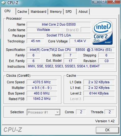 Un processeur E8500 overclocké à 4370 MHz