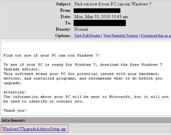 Un cheval de Troie se fait passer pour Windows 7 Upgrade Advisor