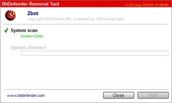 BitDefender propose un outil de désinfection gratuit pour venir à bout du malware Zbot