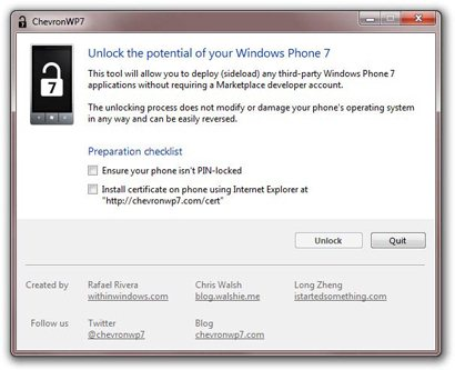 ChevronWP7 jailbreake votre Windows Phone 7
