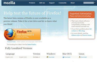 La RC1 de FireFox 4.0 est officiellement disponible