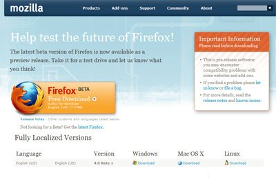 Mozilla met en ligne la beta 6 de FireFox 4