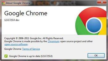 Google Chrome sort en version 12.0.725.0