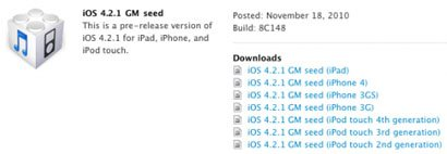 iOS 4.2.1 remplacera finalement iOS 4.2 ?