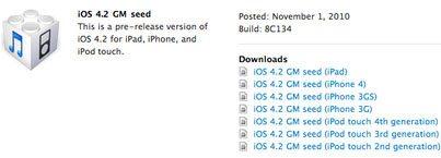 La version 4.2 finale de iOS est sur les rails…
