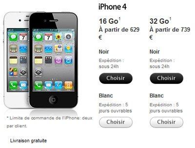 iPhone 4 blanc : tarif identique au noir, mais épaisseur différente !
