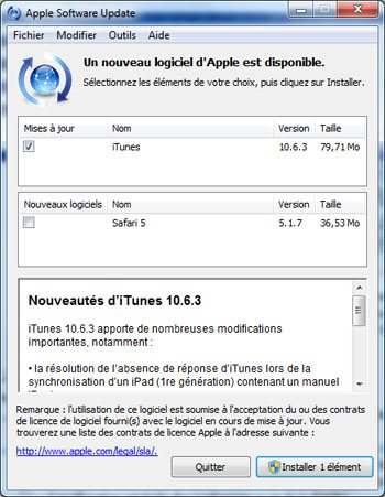 Apple met à jour iTunes qui passe en version 10.6.3