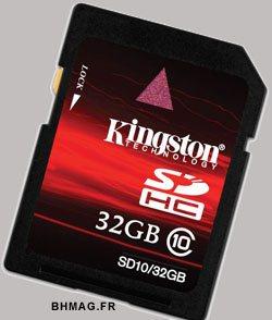 Des cartes SDHC de 16 et 32Go rapides chez Kingston