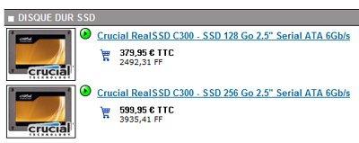 Les SSD Crucial C300 sont à nouveau en stock