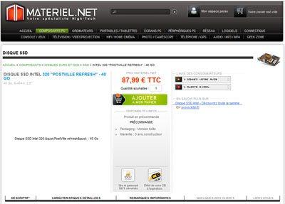 Materiel.net annonce avant l'heure les SSD INTEL 320 Series et se rétracte (MAJ : ils sont de retour)