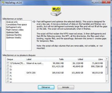 Le défragmenteur MyDefrag en version 4.2.8