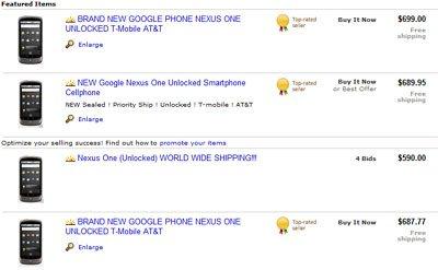 Le Nexus One de Google est déjà en vente sur ebay