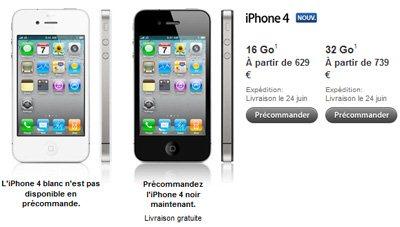 Combien coute l'iPhone 4 nu sans abonnement ?
