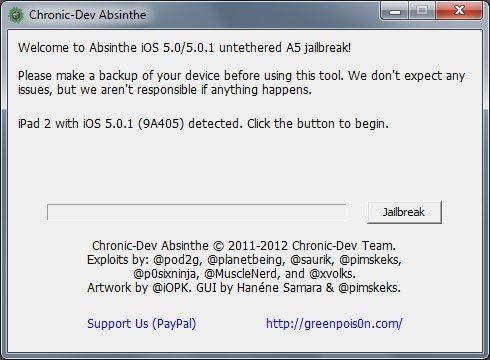 Jailbreak absinthe iPhone 4s iPad 2