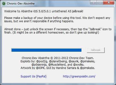 Jailbreak absinthe iPhone 4s iPad 2