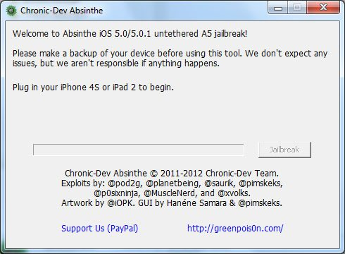 absinthe cartonne, déjà un million d'iDevices jailbreakés !