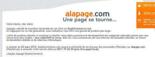 Le site Alapage.com ferme ses portes…