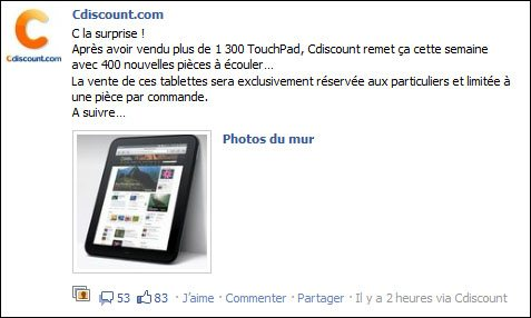 Des TouchPad seront à nouveau en vente cette semaine …
