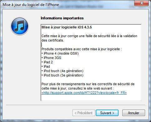 Mettez à jour vos iDevices avec la version 4.3.5 de iOS