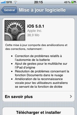 iOS 5.0.1 sur iPhone 3GS