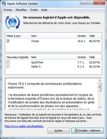 Apple publie la version 10.6.1 d'iTunes