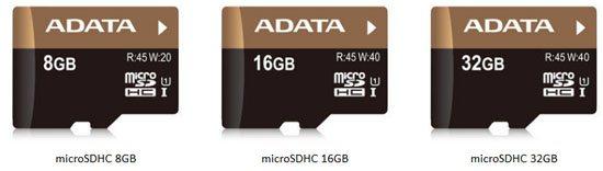45 Mo/s pour les nouvelles microSDHC d'AData