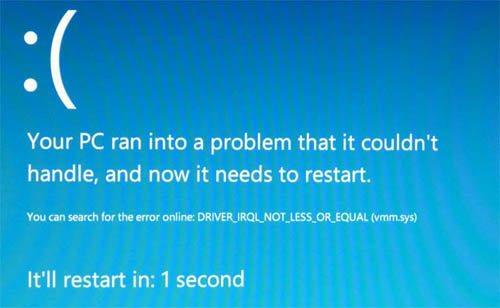 Windows 8 intègre un nouveau Blue Screen Of Death