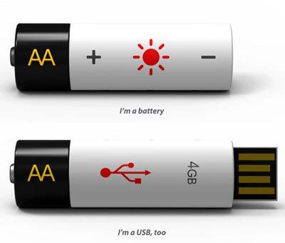 Un concept intéressant de clé usb – pile rechargeable