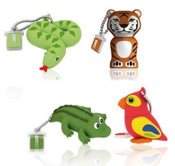 Des clés usb en forme d'animaux de la jungle