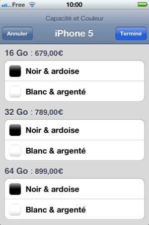 L'iPhone 5 est 50€ plus cher que l'iPhone 4S : 679€, 789€ et 899€