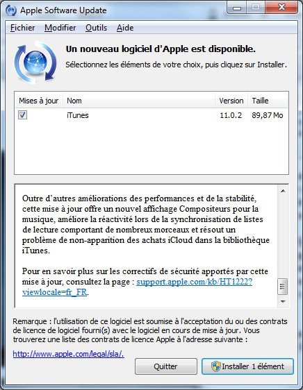 Le logiciel iTunes sort en version 11.0.2