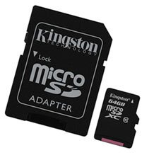 Une carte micro SDXC de 64 Go chez Kingston
