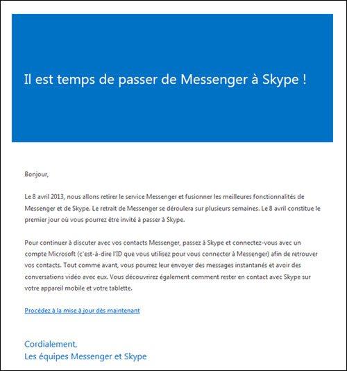 Microsoft incite les utilisateurs de WLM à passer à Skype
