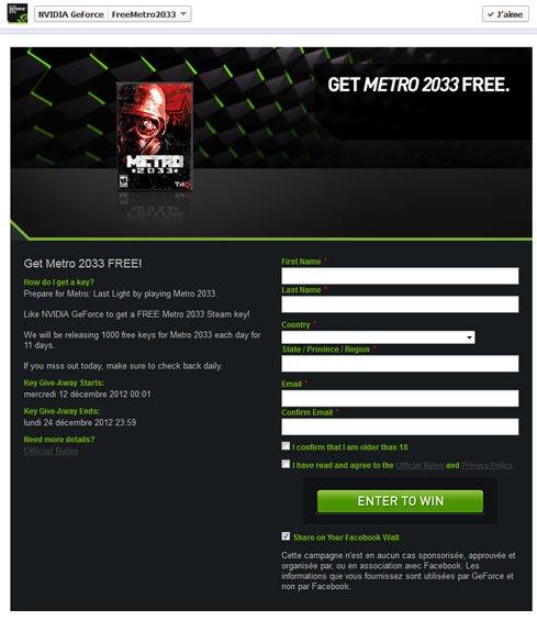 nVIDIA vous offre le jeu Metro 2033 pour Noël