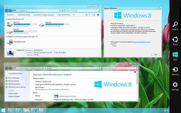 Transformer Windows XP, Vista ou 7 en Windows 8 avec interface Metro