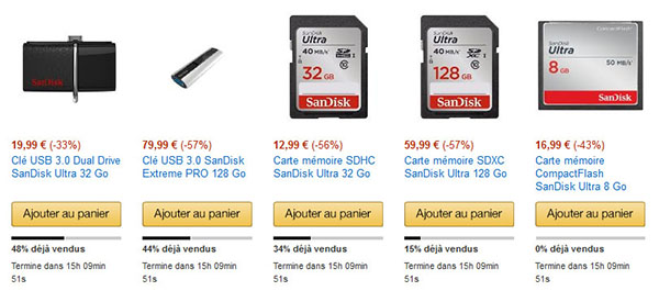 Ventes flash : grosse opération sur le stockage chez Amazon.fr !