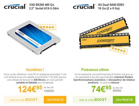 Bons Plans : un SSD de 480 Go à 125€ et 16 Go de RAM à 75€