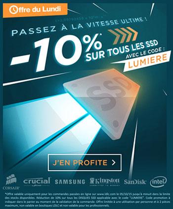Vente flash : 10% de remise sur tous les SSD vendus chez LDLC !